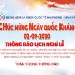 Bệnh viện Đa khoa Quốc tế Hải Phòng – Vĩnh Bảo thông báo lịch nghỉ lễ Quốc Khánh 2/9/2020
